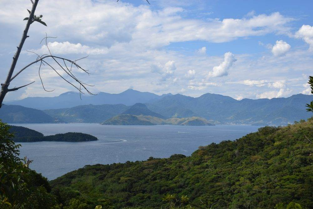 viewpoint on the walk to the waterfall on ilha grande brazil