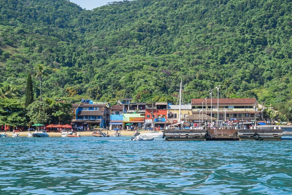 Arriving at the town of Abraão on Ilha Grande from the mainland of Brazil