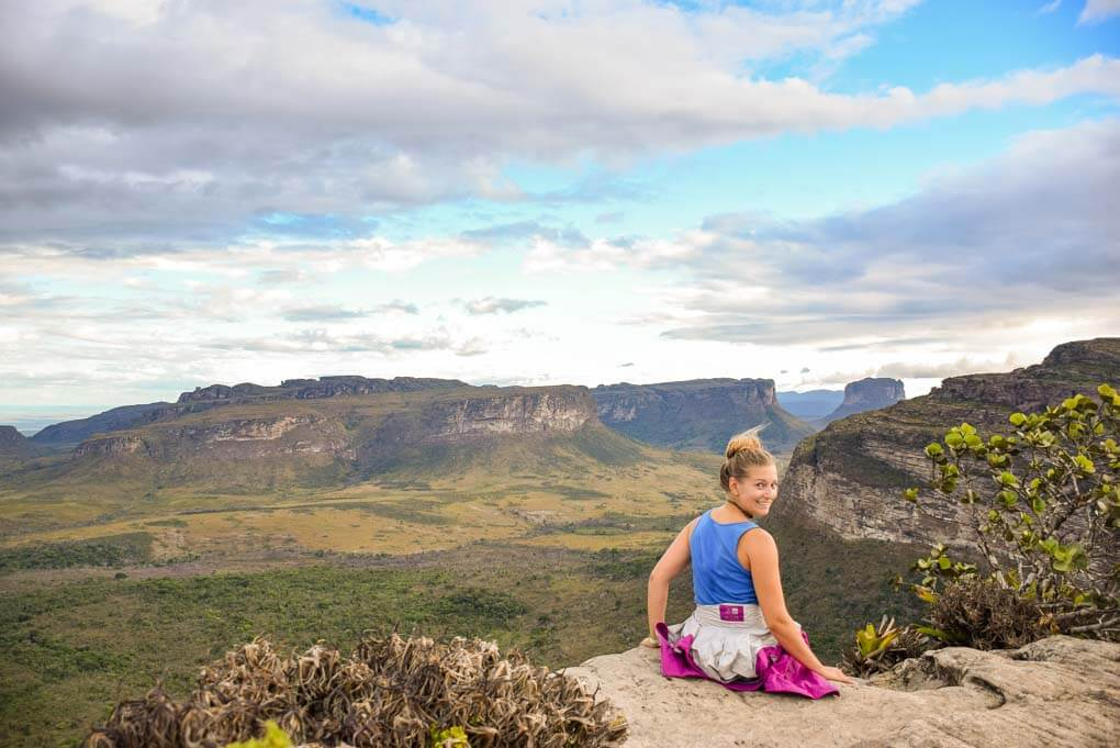 Bailey sits on a viewpoint overlooking Chapada Diamantina National Park, Brazil