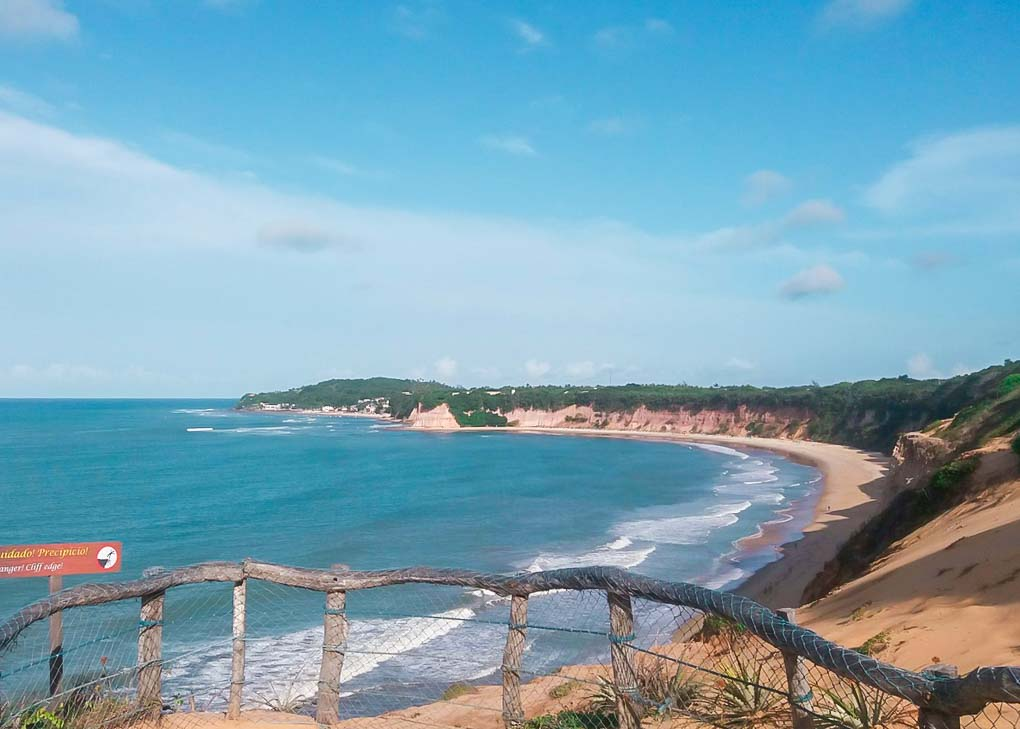 View of the beach from the path in the Santuario Ecologico de Pipa