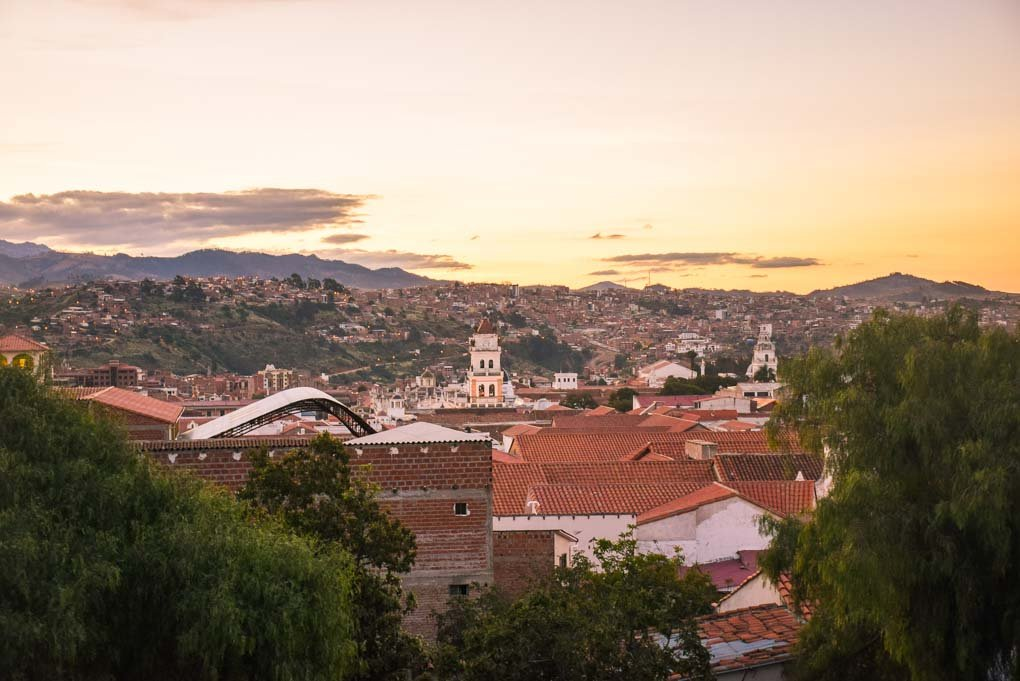 Sunset over Sucre city from our hostel and spanish school