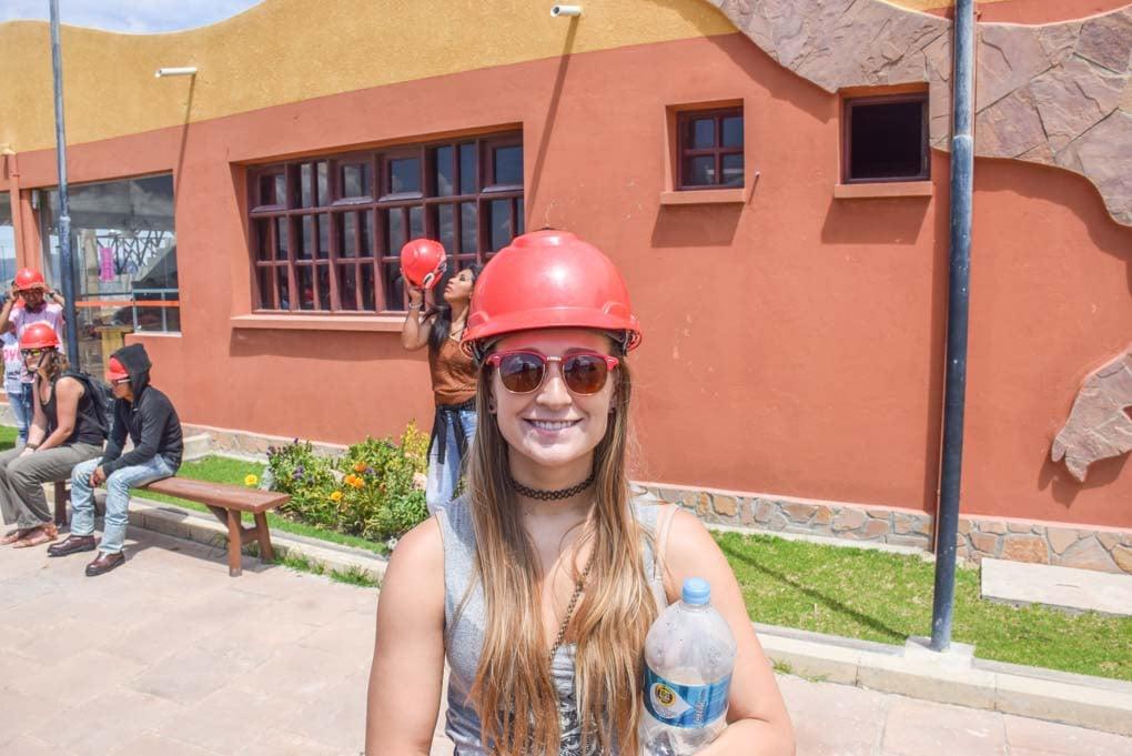 Bailey smiles at the camera at  Cal Orck'o dinosaur footprints in Sucre, Bolivia