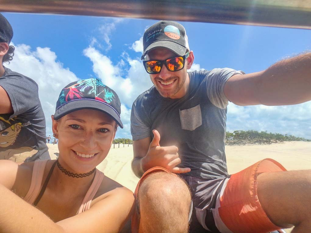 Bailey and Daniel on their dune buggy tour in Natal, Brazil