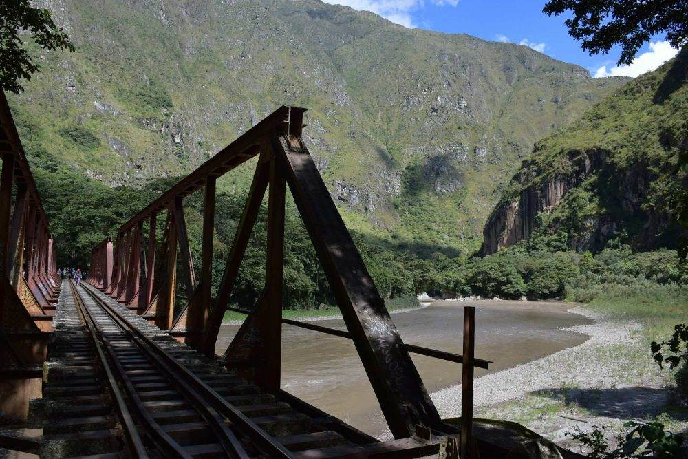 walking along the railway tracks to aquas calientes