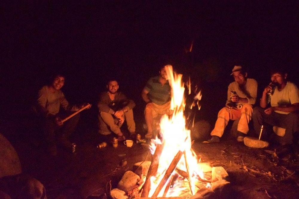 campfire in the peruvian jungle