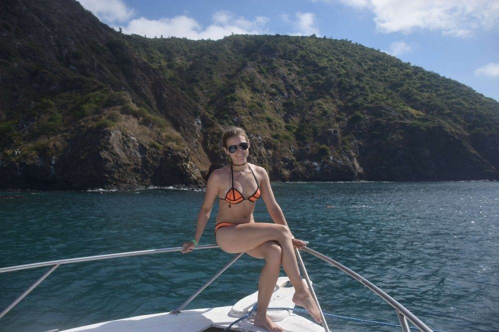 chilling on the boat just off of the poor man's galapagos