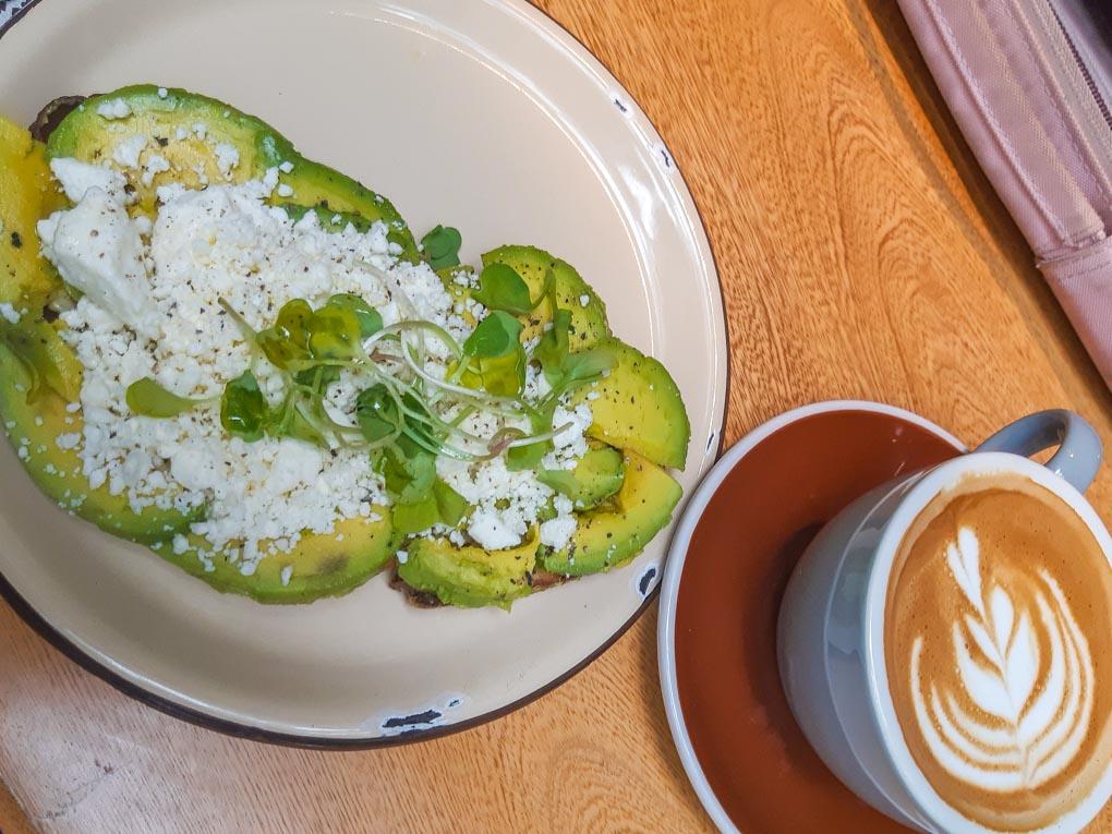 Avocado and feta at Pergamino Cafe