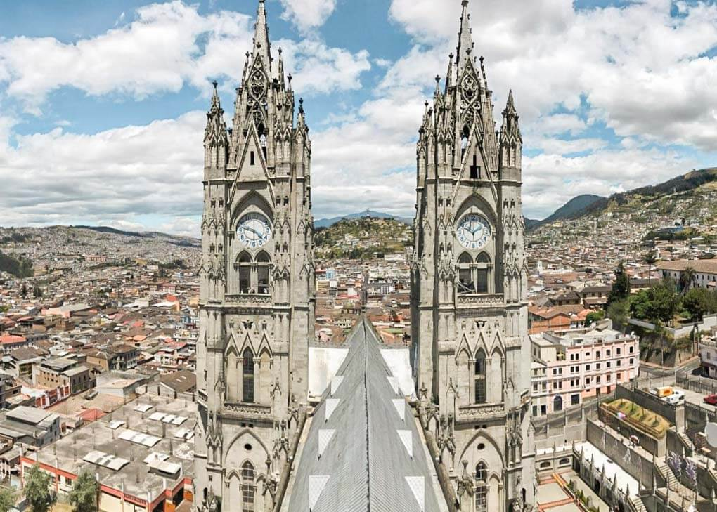 Te views from the top of the Basílica del Voto Nacional in Quito, Ecuador