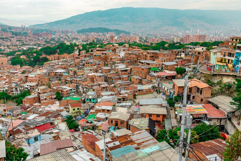 A panoramic view from the top of Comuna 13 looking out over Medellin, Colombia