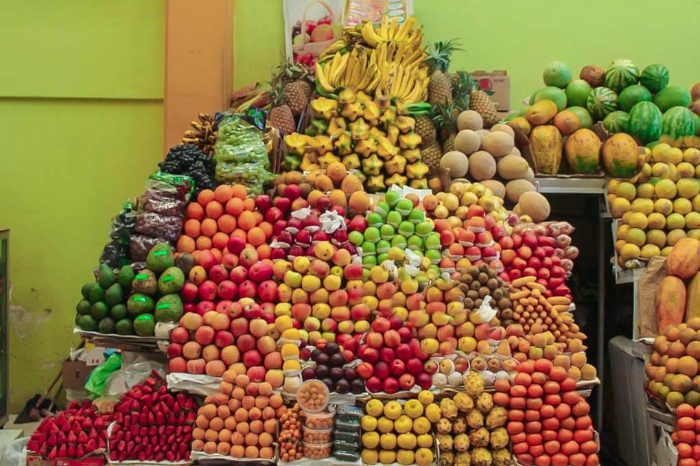 A fruit stand in Mercado Central Quito