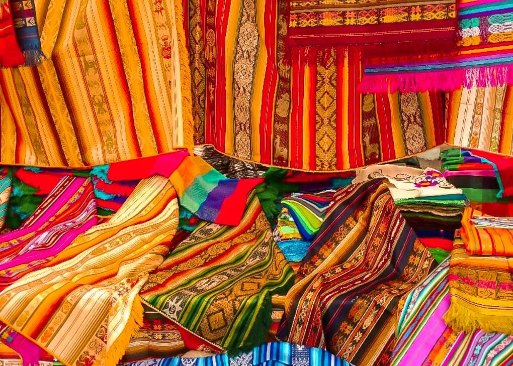 Fabrics at the Otavalo Market near Quito