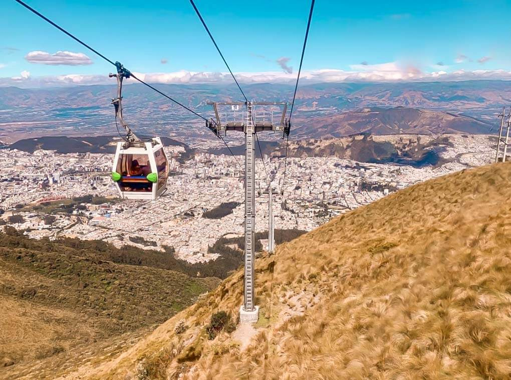 The Teleferiqo in Quito Ecuador arriving at the viewpoint looking over the city