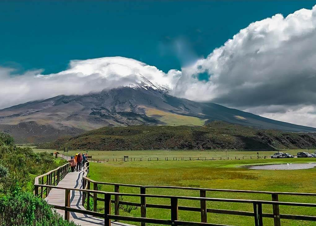 Looking at Cotopaxi Volcano from a walkway on a day trip from Quito, Ecuador