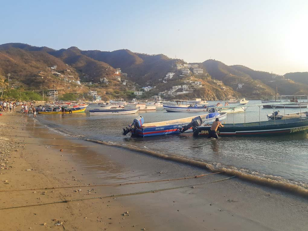 A photo of the fishing boats from the shore of Tagamga, Colombia