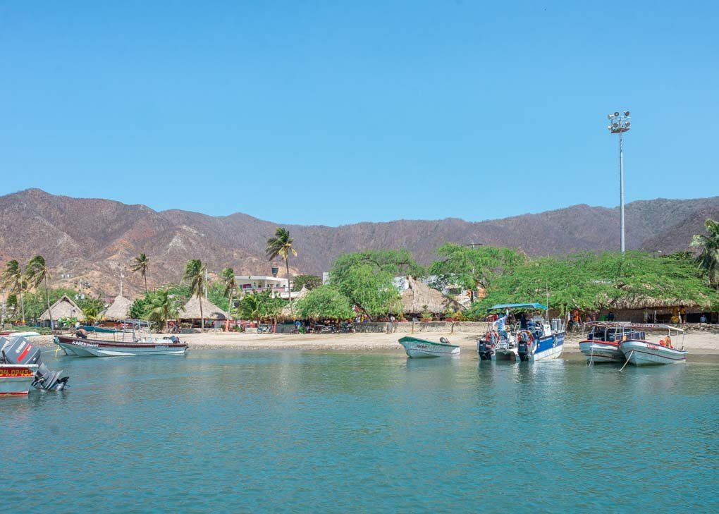 A view of taganga beach from the water