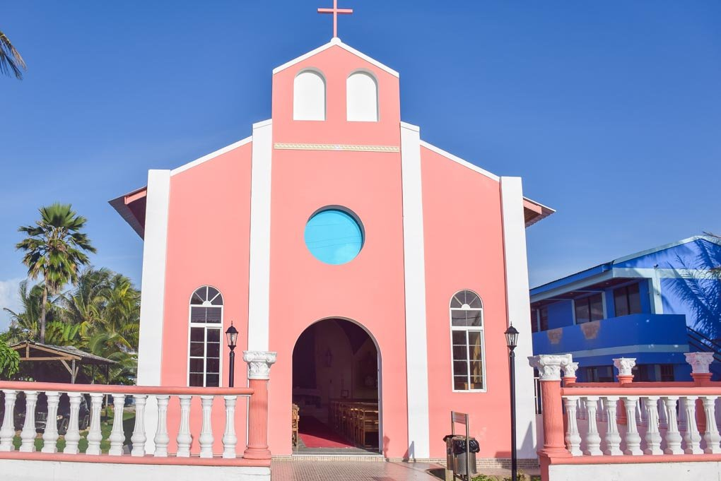 a pink church in san andres colombia