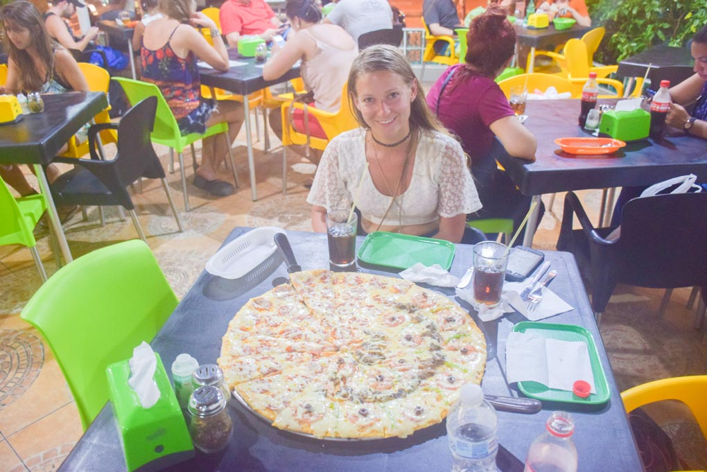 a giant pizza