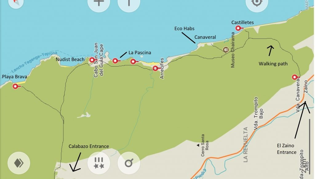 A Map of the Tayrona National Park walkway and beeches