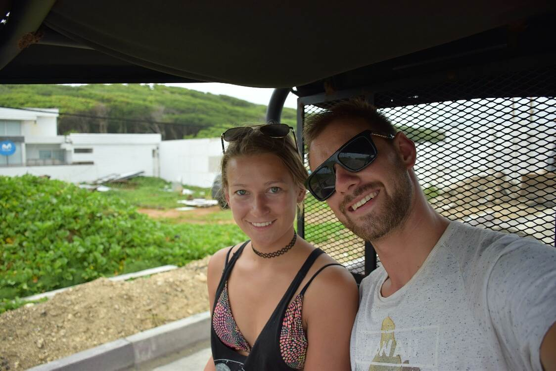 riding around in our buggy on san andres island, colombia