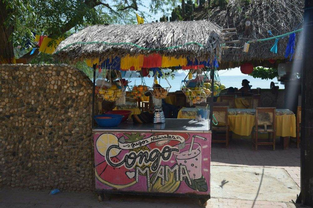 A smoothie stand in Taganga, Colombia