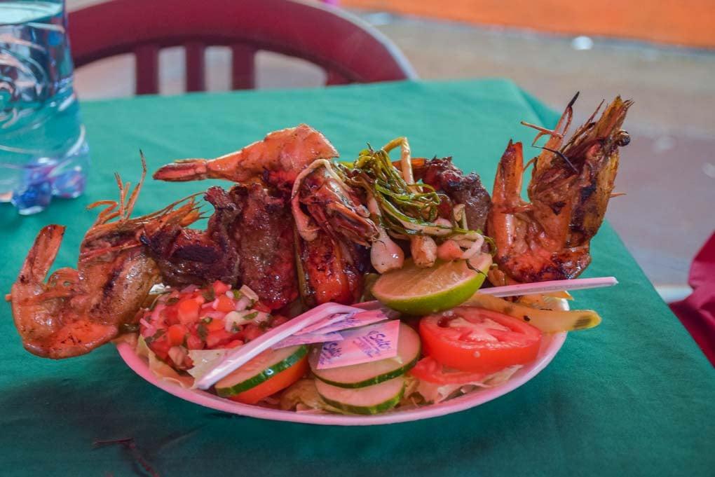 A huge meal at the food market in Juayua on the Ruta de las Flores, El Salvador