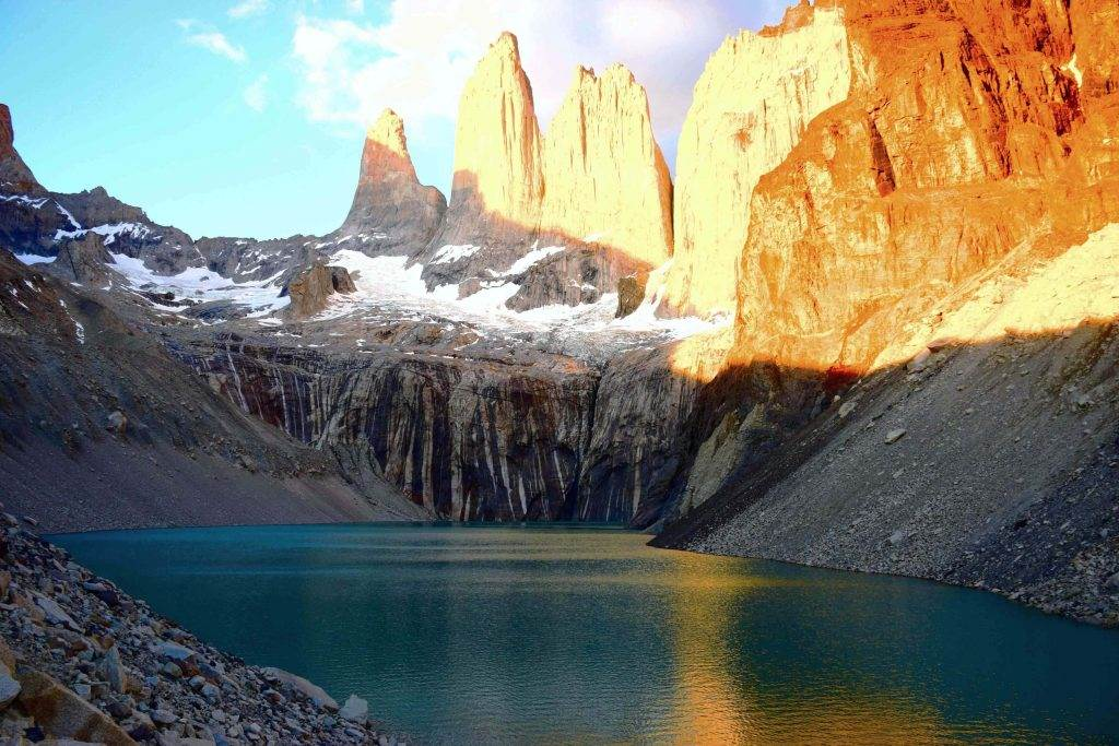 torres del paine hike is one of the best in south america by far, sunrise over the torres