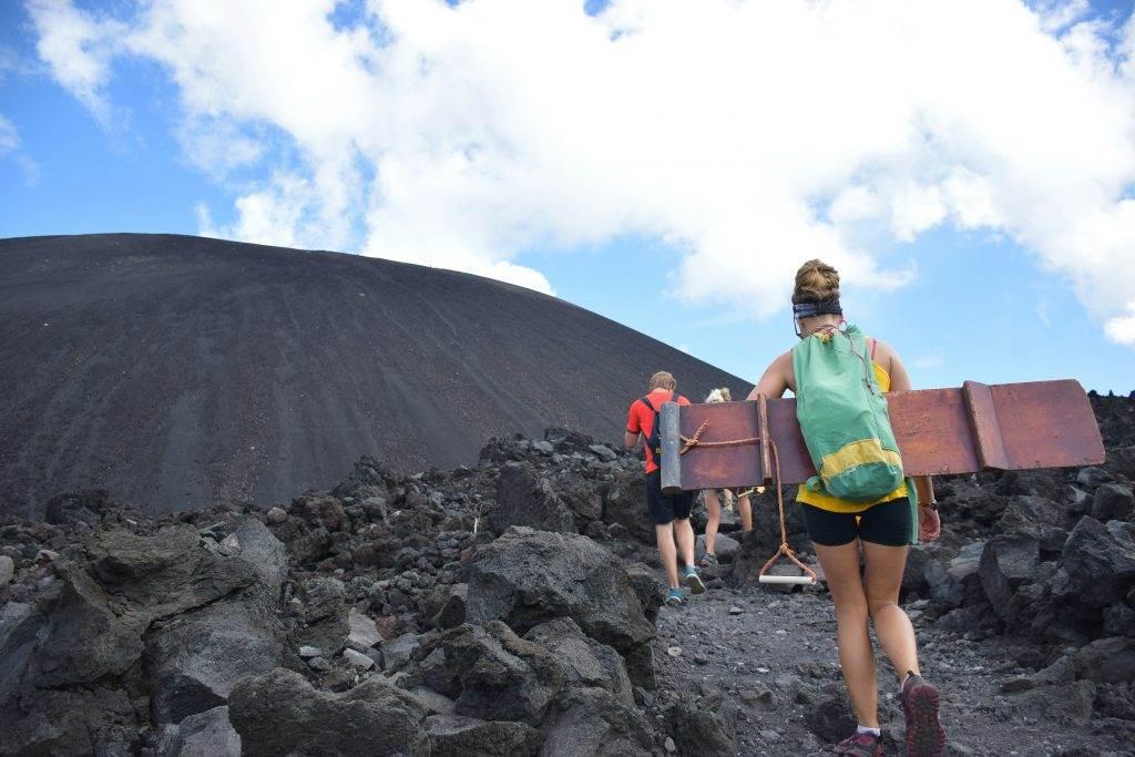 sanndboarding at the cerro negro volcano