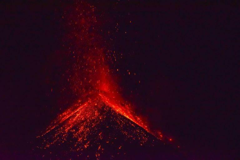 Fuego volcano erupting in gutemala