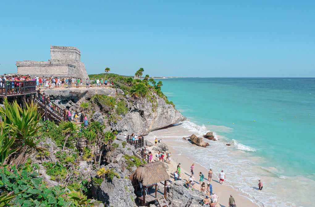 The tulum Ruins in Tulum, Mexico