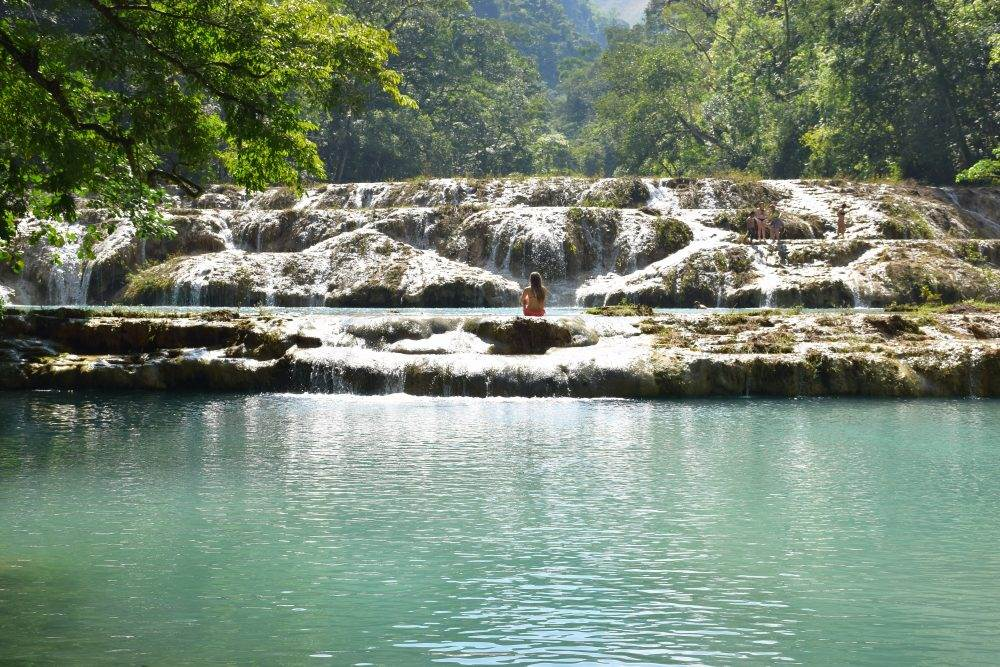 swimming in the pools at Semuc Champey
