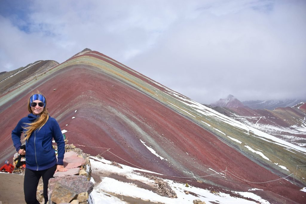 the top of rainbow mountain hiking peru