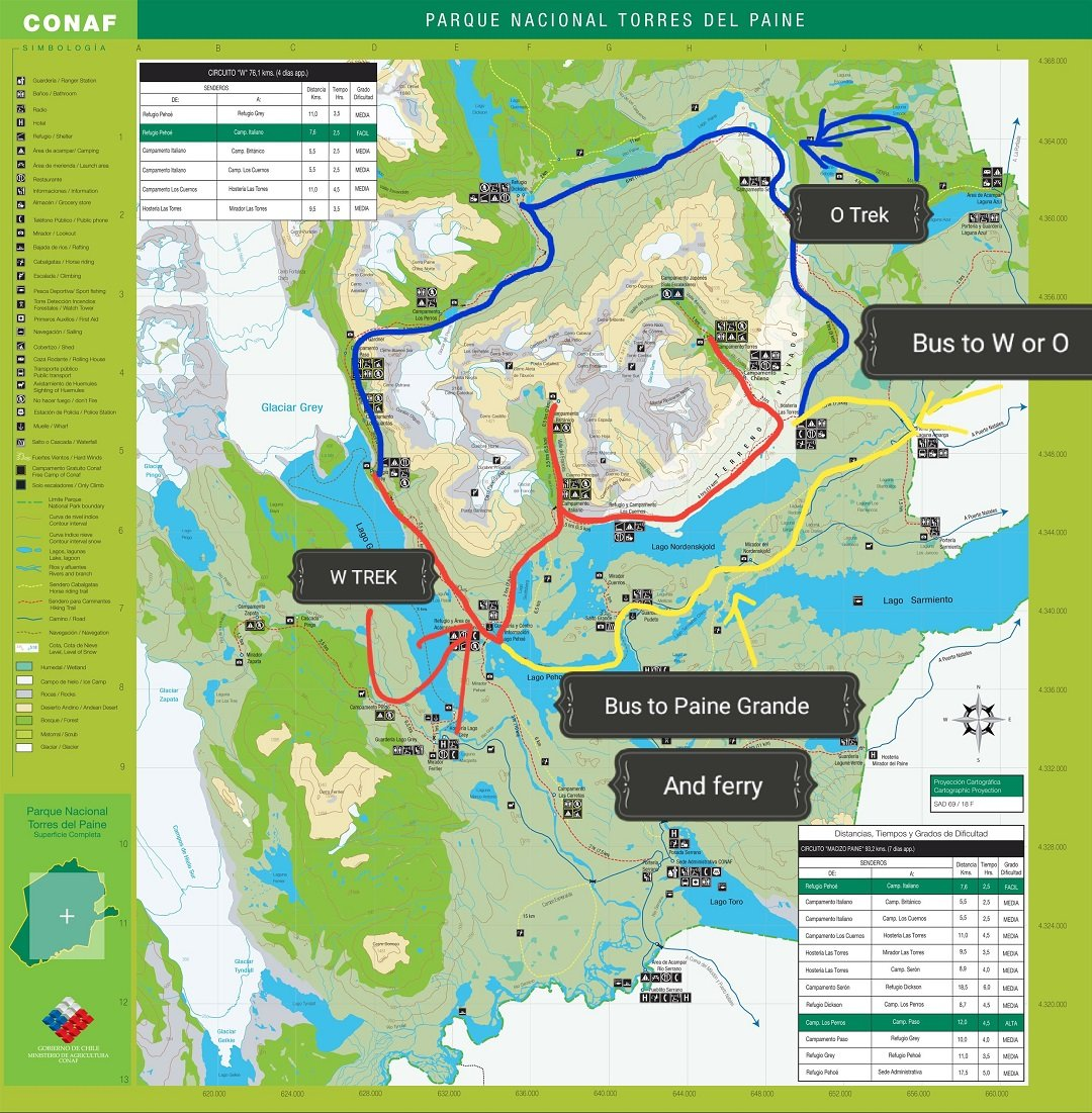 Torres del Paine camping map
