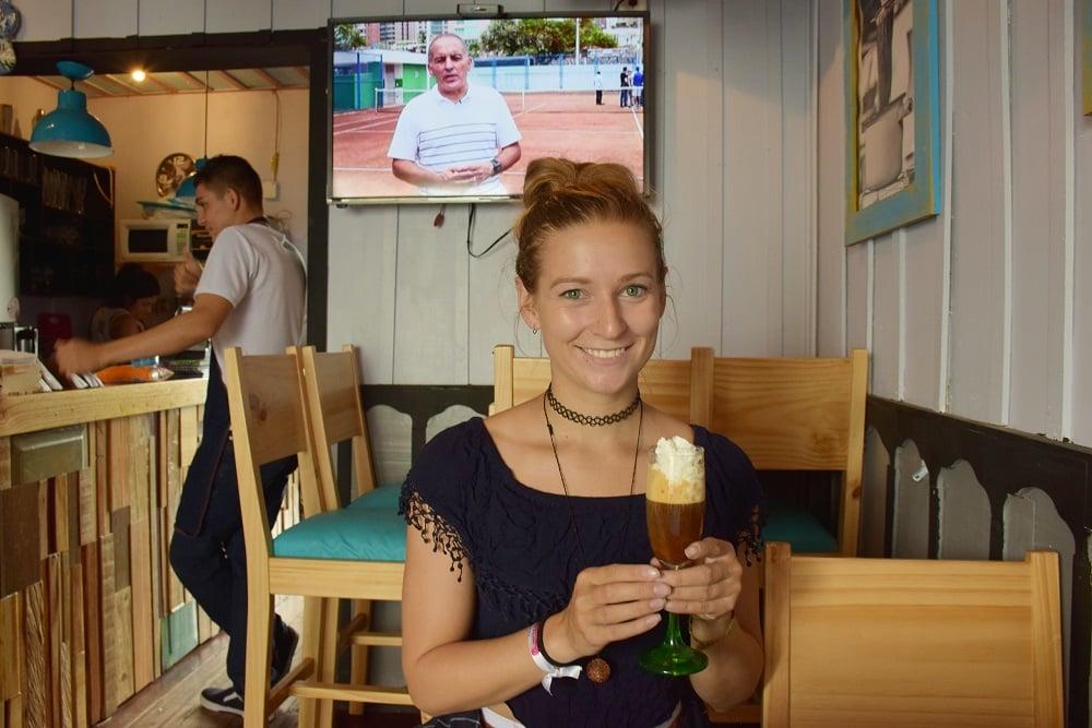 Enjoying a fancy coffee in one of the cute coffee shops in town