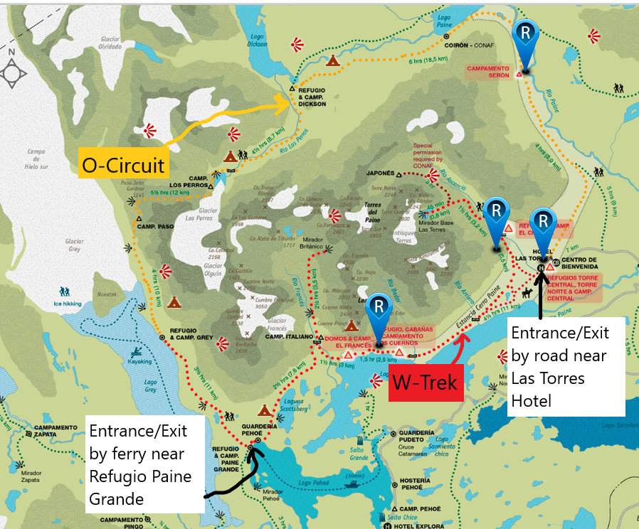map of distances on w trek and o circuit for torres del paine hike