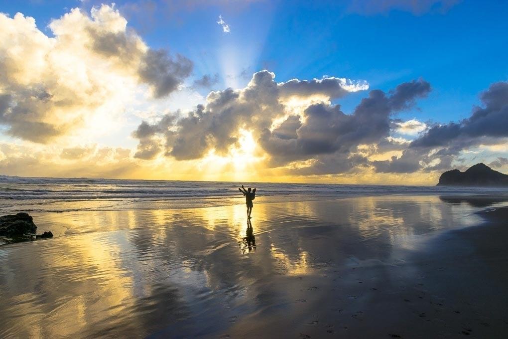 Sunset at bethells Beach, New Zealand