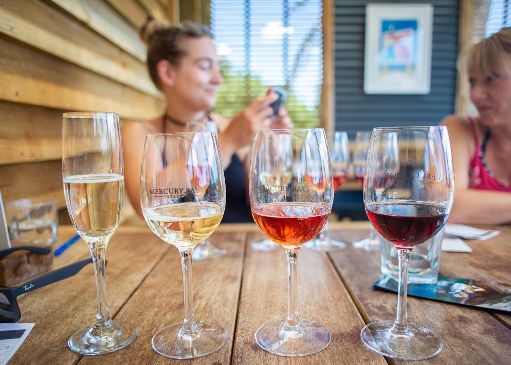 A wine tasting at Mercury bay Winery on the Coromandel Peninsula, New Zealand