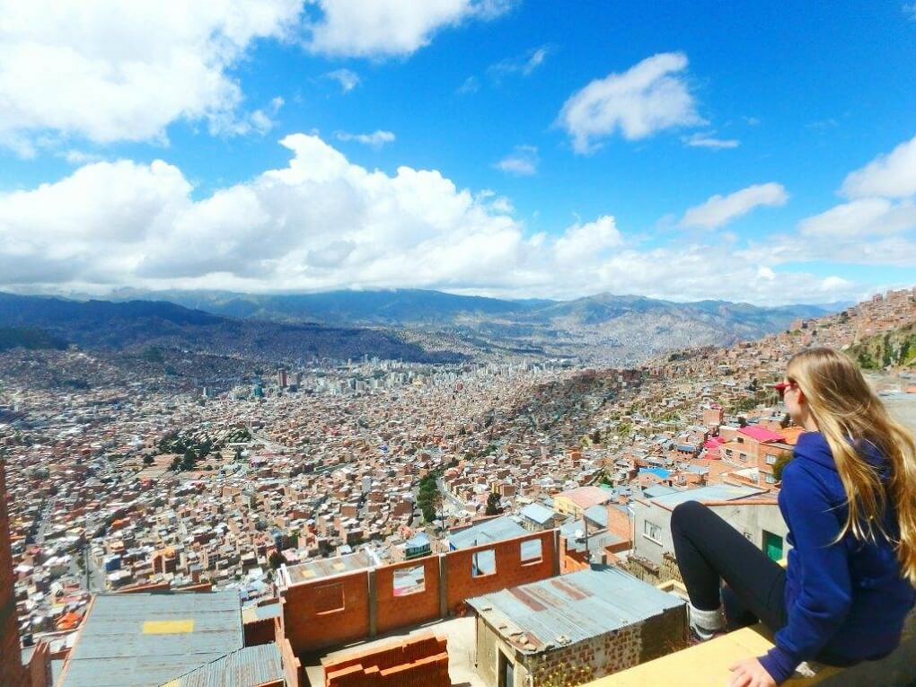 bailey looking out over la paz, bolivia