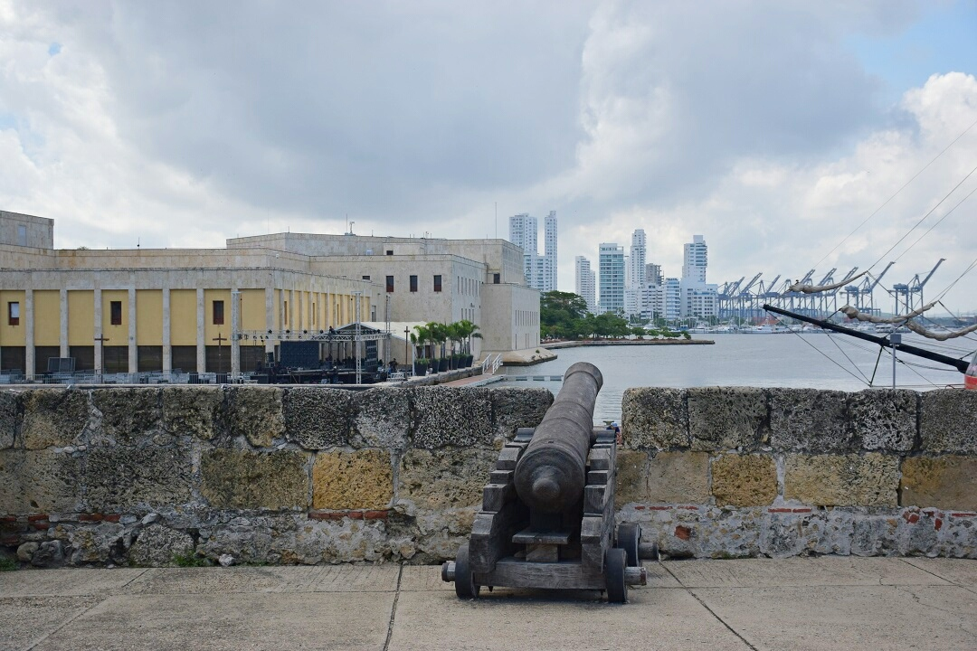 A canon in old Cartagena in our Colombia travel guide