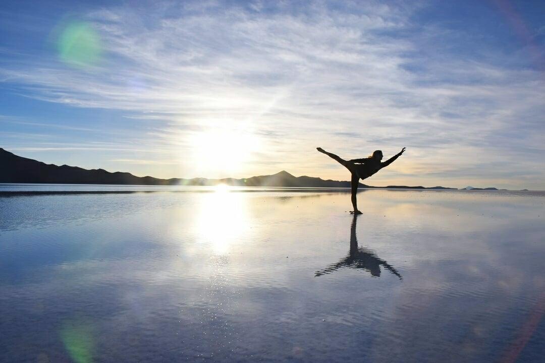 dancing photo on the Bolivia salt flats