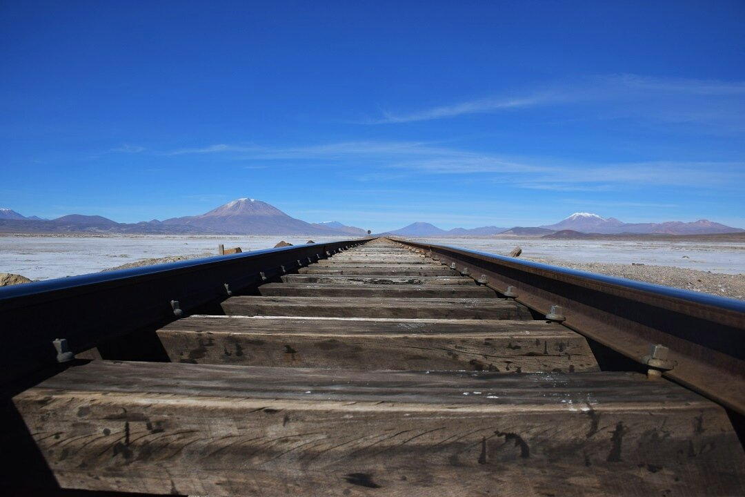 The railway track in the Salt Flats of Bolivia