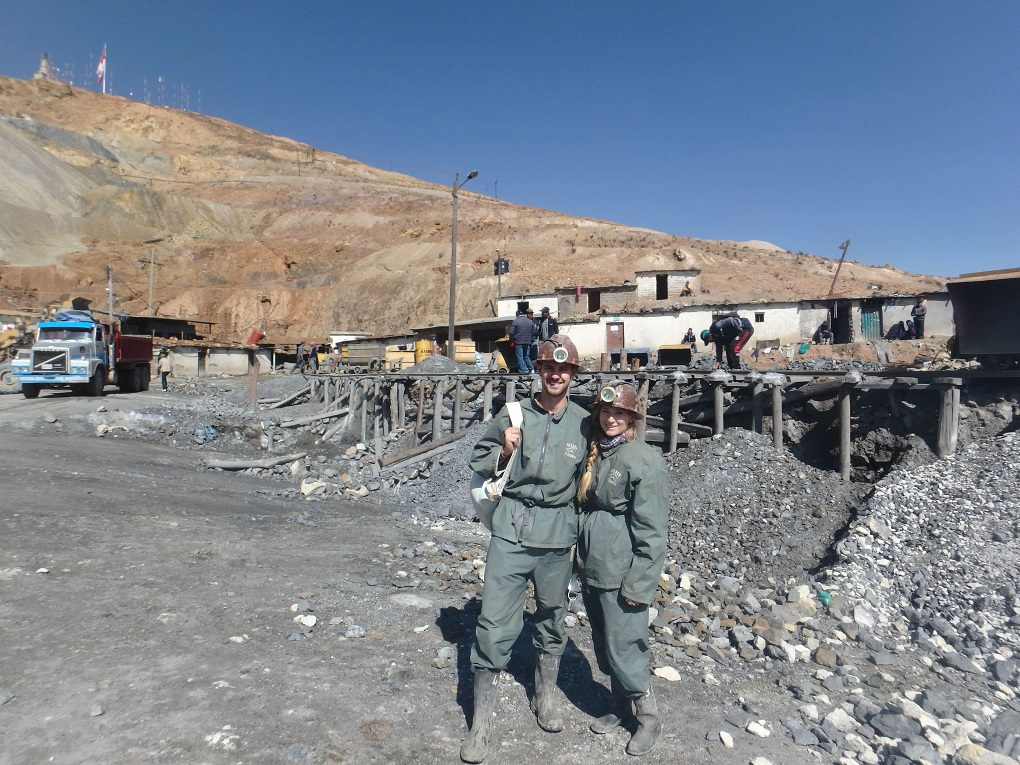 Bailey and Daniel pose for a photo at the Potosi mines