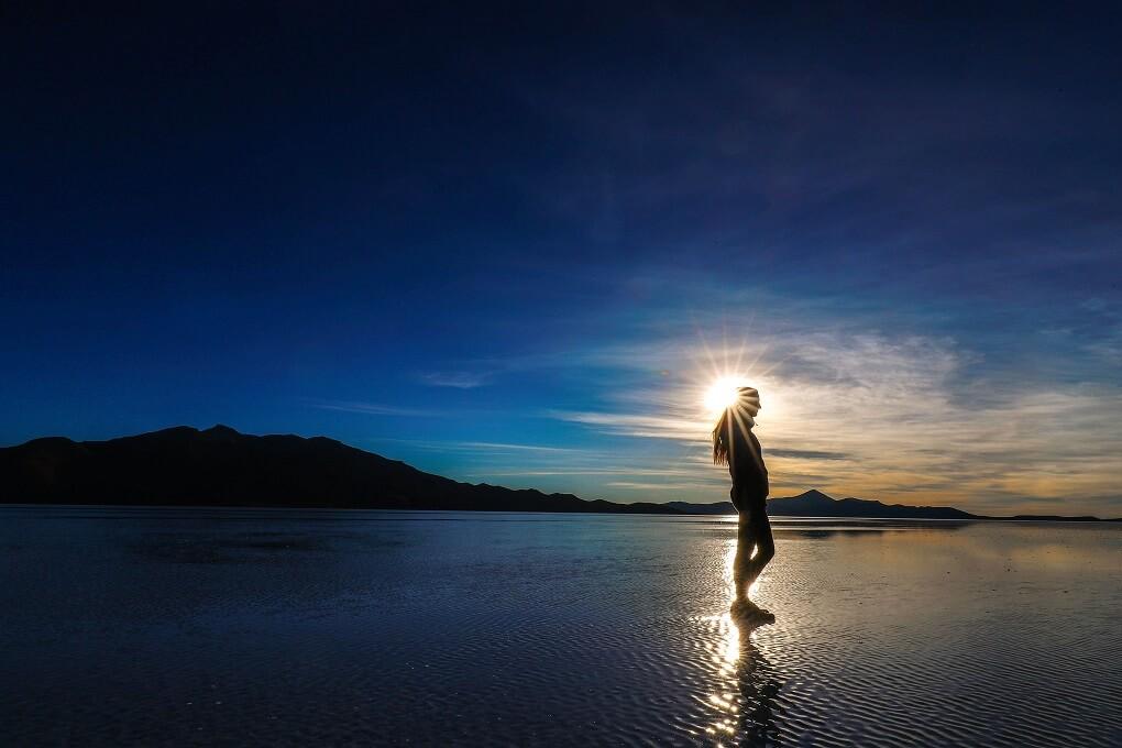 salt flats at sunset in bolivia