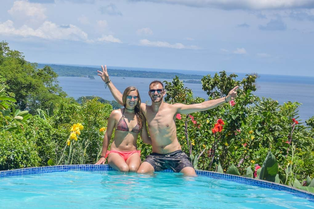 Sitting at a pool on ometepe island