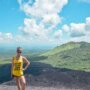 Bailey on the Volcano Boarding near Leon in Nicaragua