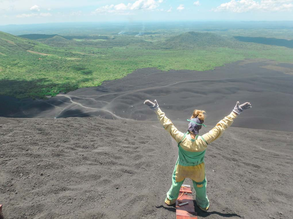 Bailey on Cerro Negro about to go volcano boarding in Nicaragua