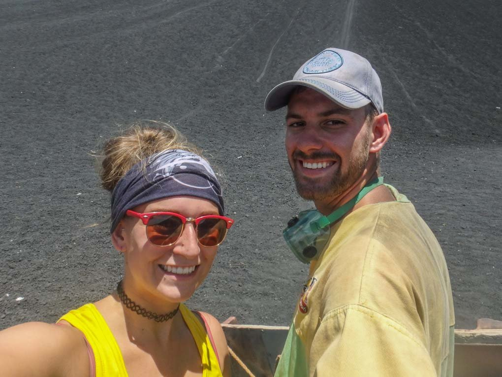 Bailey and Daniel take a selfie after sliding down the Cerro Negro Volcano in Nicaragua