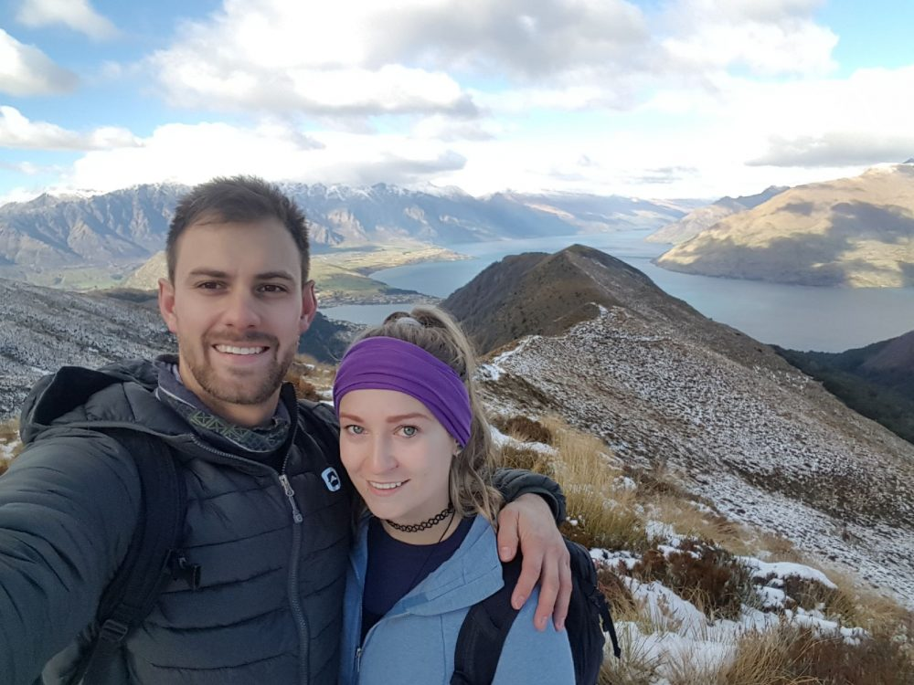 selfie hiking in new zealand