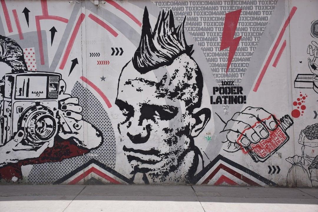Bogota street art of a mans face