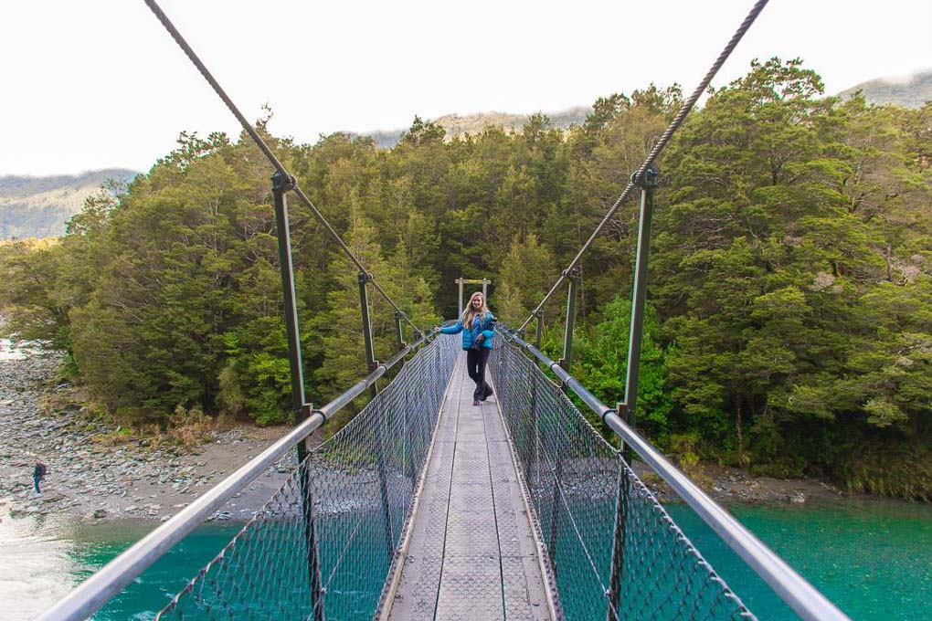 The first suspension bridge you'll see at the Blue pools!