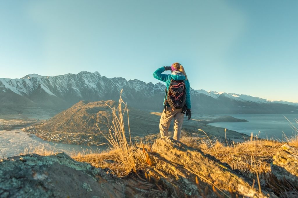 Looking out at the top of Queenstown hill at sunrise